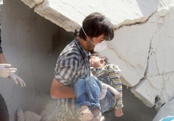 child bombed in syria
