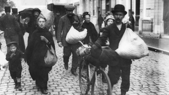 Dazed European refugees